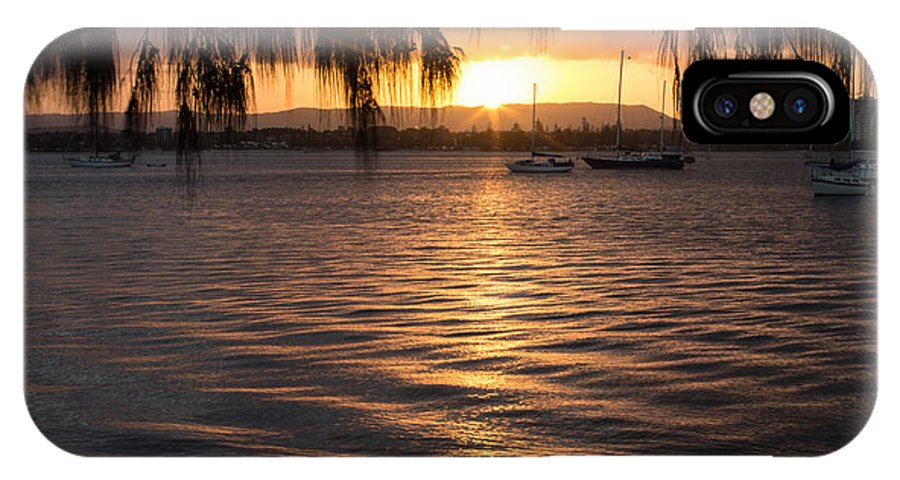 Gold Coast.boat IPhone X / XS Case featuring the photograph Sunset On The River by Michael Podesta