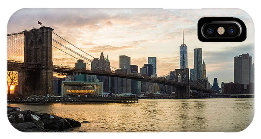 Brooklyn IPhone X Case featuring the photograph Sunset Over Brooklyn Bridge by Saurav Pandey