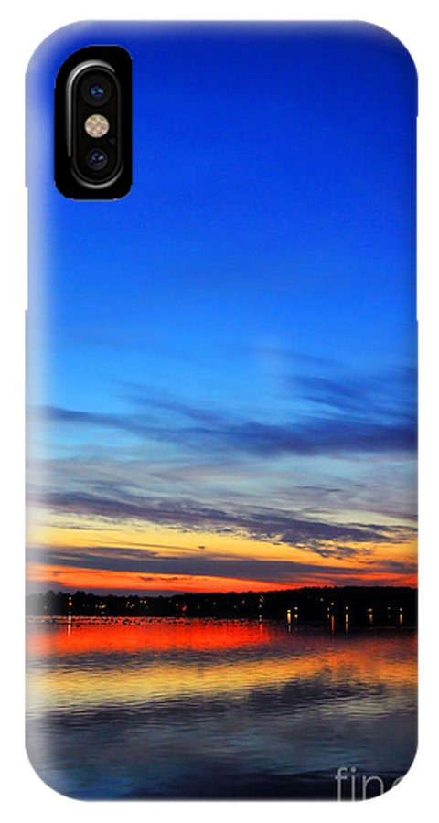 Sunset IPhone X Case featuring the photograph Sunset Over Lake by Sylvie Bouchard