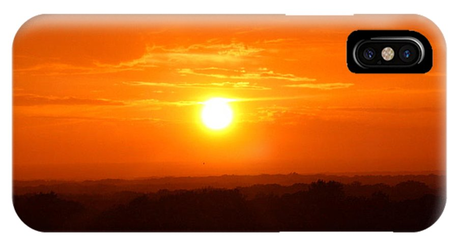 Sky Skyscapes Sun Suns Sunset Sunsets Ohio Rlclough IPhone X Case featuring the photograph Sunset Over Ohio 2010. No.1 by RL Clough