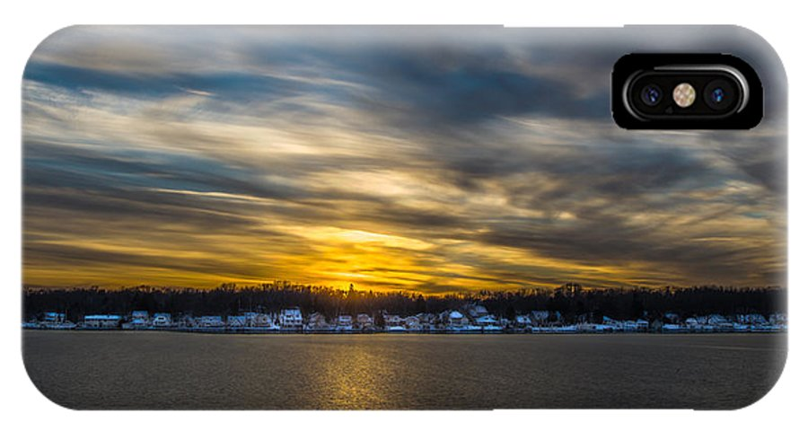 2012 IPhone X Case featuring the photograph Sunset Over Snow Covered Village by Randy Scherkenbach
