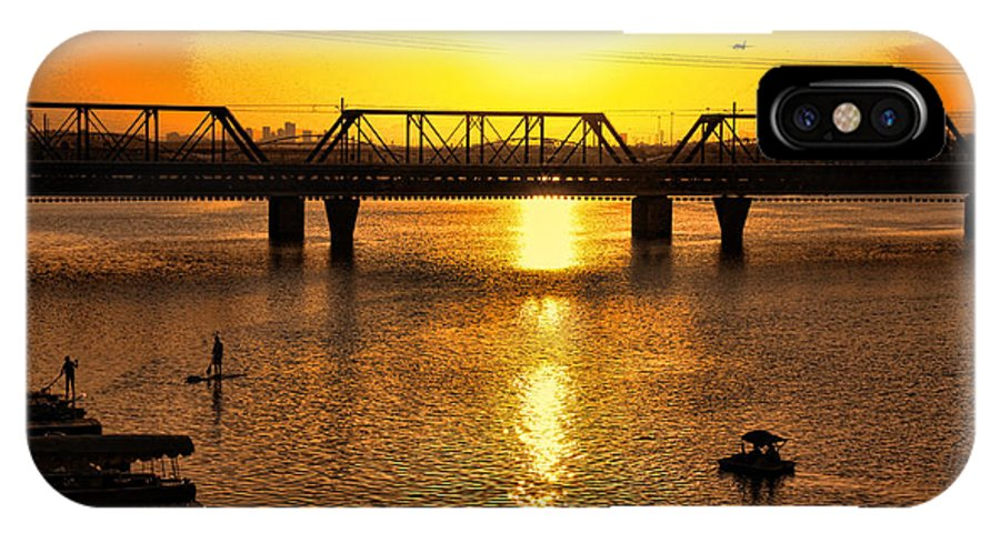 Sunset IPhone X Case featuring the photograph Sunset Over Town Lake by Chuck Seller