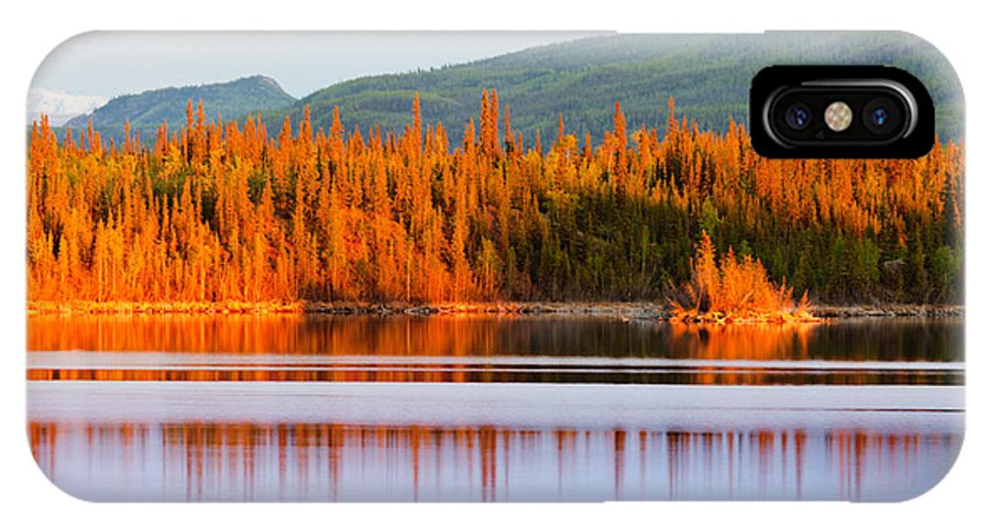 Beautiful IPhone X Case featuring the photograph Sunset Reflections On Boreal Forest Lake In Yukon by Stephan Pietzko