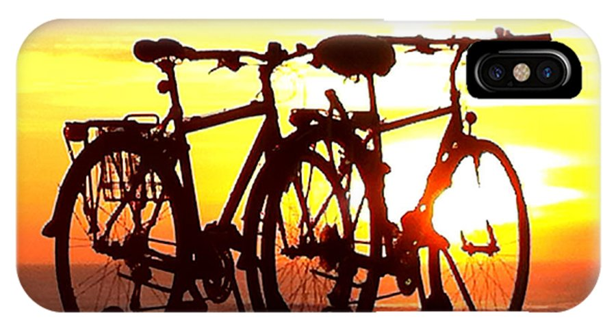 Bikes IPhone X Case featuring the photograph Sunset Ride by Donna Blackhall