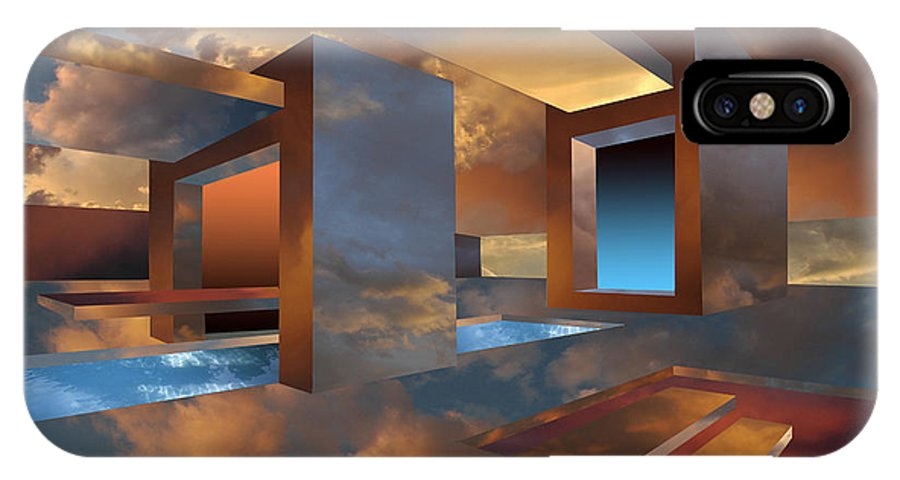 Architecture.sunset IPhone X Case featuring the digital art Sunset Room by Jim Alford