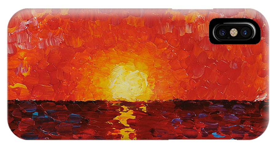 Sunset IPhone X Case featuring the painting Sunset by Teresa Wegrzyn