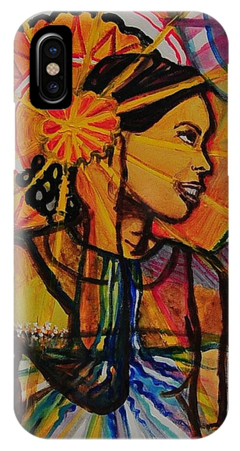Woman IPhone X Case featuring the painting Sunshine Over Lake Water by Arianne Lequay