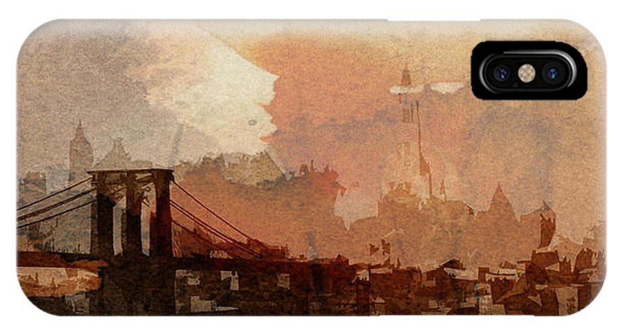 Brooklyn Bridge New York Nyc Ny City Cityscape Usa Skyscraper Abstract Painting Digital Art Manhattan Symbol Sight 1930 Vintage America Sunrise IPhone X Case featuring the digital art Sunsrise Over Brooklyn Bridge by Steve K