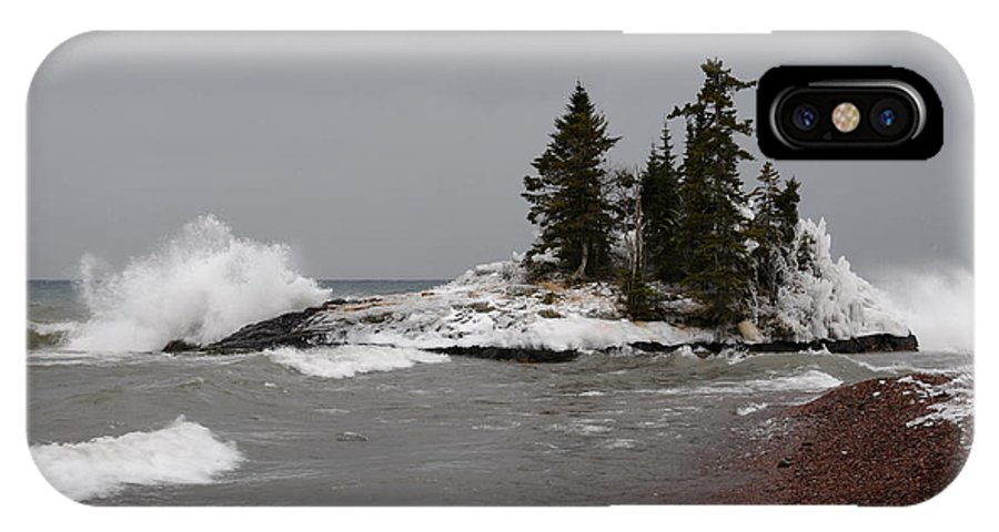Lake Superior Island IPhone X / XS Case featuring the photograph Superior Island View Of Storm by Sandra Updyke