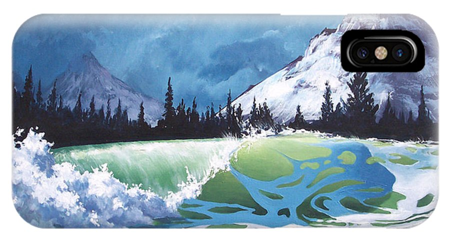 Wave IPhone X Case featuring the painting Surf And Snow by Philip Fleischer
