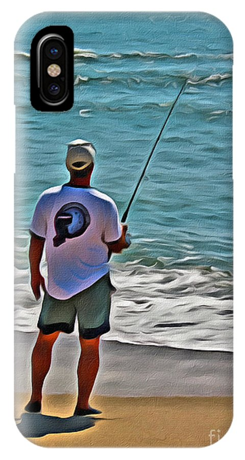 Surf IPhone X Case featuring the photograph Surf Fishing by Scott Hervieux