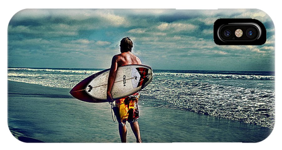 � Jamesdavidphotography; Photo; Photograph; Horizontal; Surf; Surfing; Surf Board; Board; Plank; Short; Long; Sport; Wet; Ocean; Pacific; Male; Teen; Wave; Breaker; Shore; Dscf3490; Lucisart; Fuji S5 Pro; Sand; Wave; Cloudly; Dramatic IPhone X Case featuring the photograph Surfer Walking The Beach by James David Phenicie