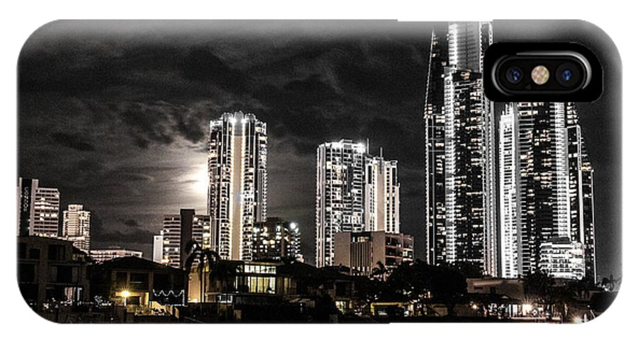 'new Years Eve' Fireworks 'surfers Paradise' Night 'gold Coast' Buildings IPhone X Case featuring the photograph Surfers Paradise By Night by John White