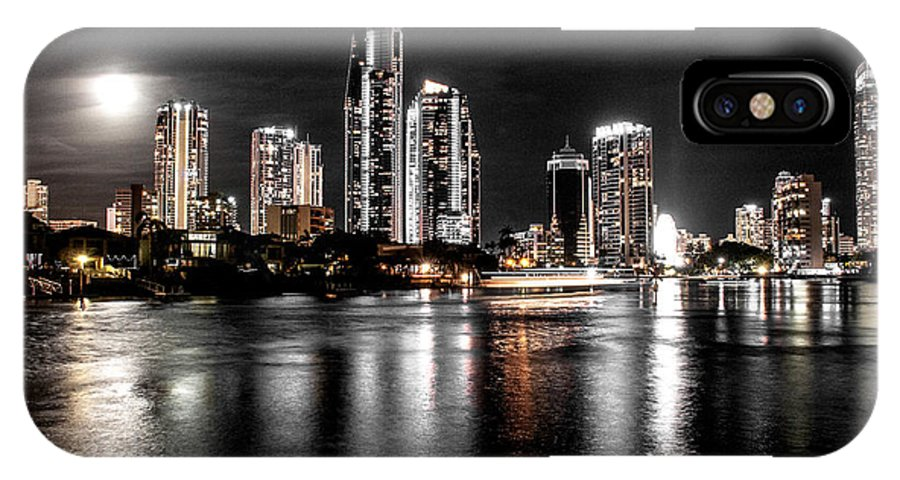 'new Years Eve' Fireworks 'surfers Paradise' Night 'gold Coast' Buildings IPhone X Case featuring the photograph Surfers Paradise Night Reflections by John White