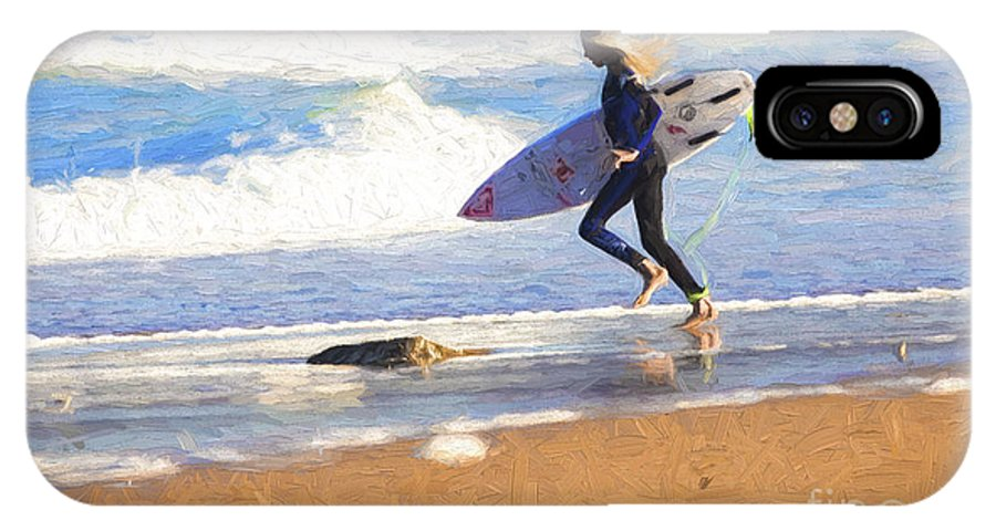 Surfer IPhone X Case featuring the photograph Surfing girl by Sheila Smart Fine Art Photography