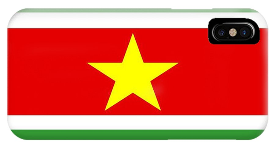 Suriname IPhone X Case featuring the digital art Suriname Flag by Frederick Holiday