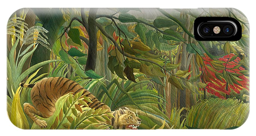 Henri Rousseau IPhone X Case featuring the painting Surprised by Henri Rousseau