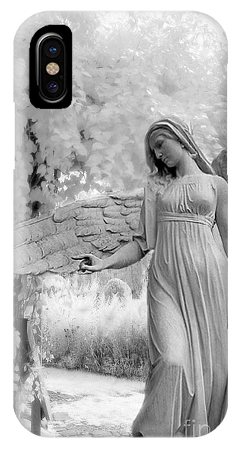 Infrared Angel Art IPhone X Case featuring the photograph Surreal Dreamy Fantasy Infrared Angel Nature by Kathy Fornal