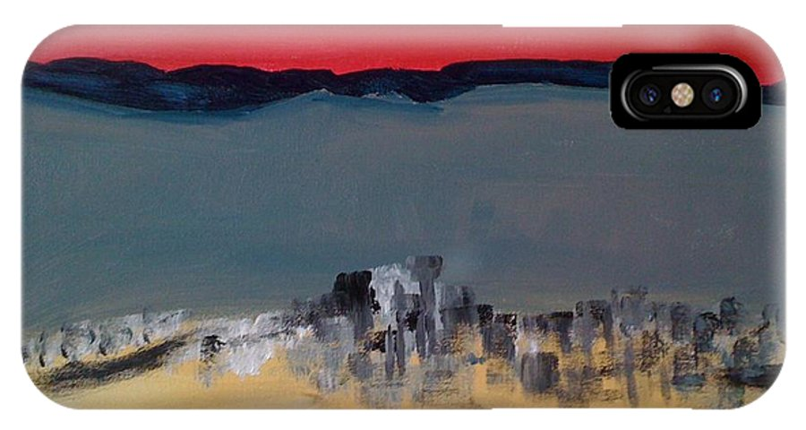 Cities IPhone X Case featuring the painting Survolant Quebec Et L Ile D Orlean by Danielle Landry
