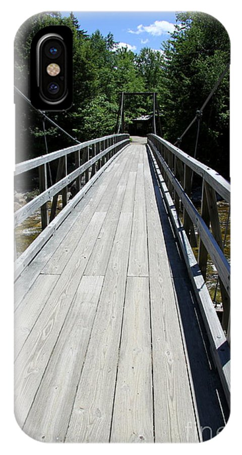 Bridge IPhone X Case featuring the photograph Suspension Bridge Over Pemigewasset River Nh by Christiane Schulze Art And Photography