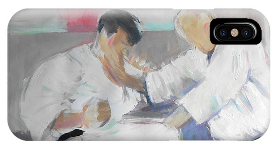 Suzuki Sensei IPhone X Case featuring the painting Suzuki Sensei by Lucia Hoogervorst