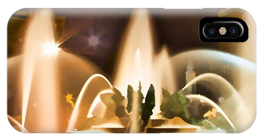 Night Swan Fountains Philadelphia IPhone X Case featuring the photograph Swan Fountains by Alice Gipson