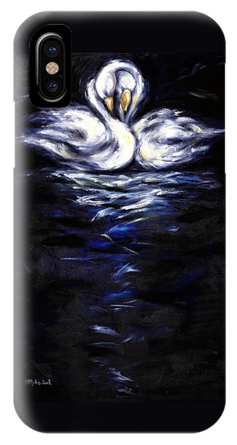 Bird IPhone X Case featuring the painting Swan by Hiroko Sakai
