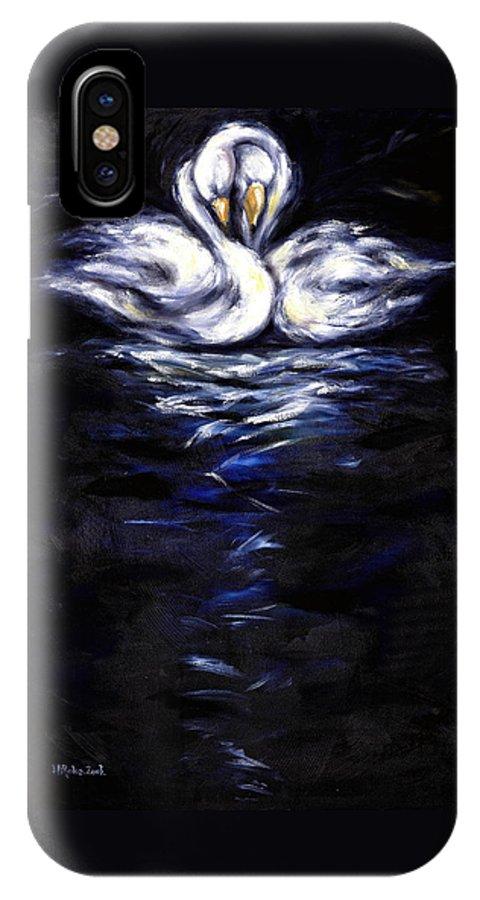 Bird IPhone X Case featuring the painting Swan by Hiroko Sakai