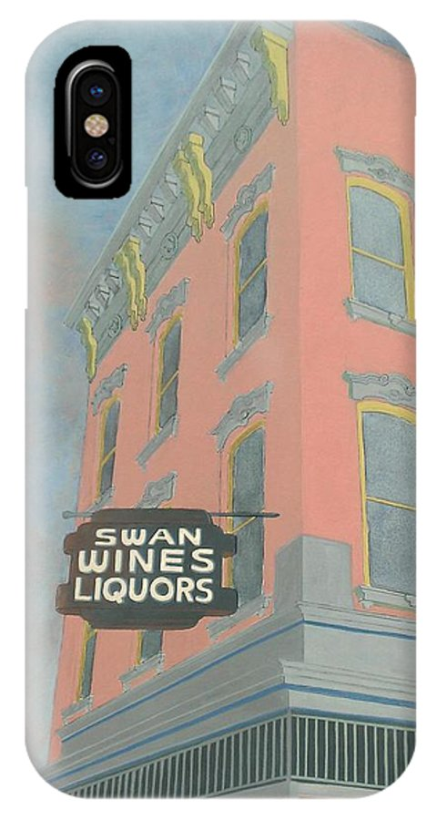 Cityscape IPhone X Case featuring the painting Swan Liquors by David Hinchen
