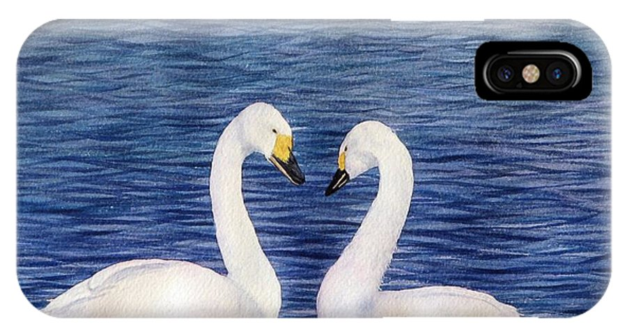 Swans IPhone X Case featuring the painting Swan Love by Sharon Farber