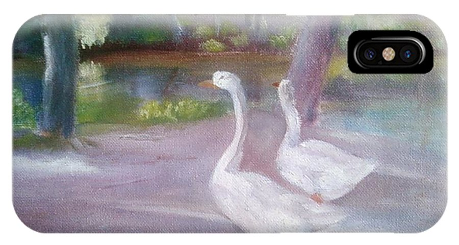 Swans IPhone X Case featuring the painting Swans At Smithville Park by Sheila Mashaw