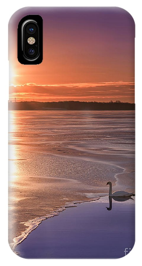 Frost Bite IPhone X / XS Case featuring the photograph Swans Sunrise by Michael Ver Sprill
