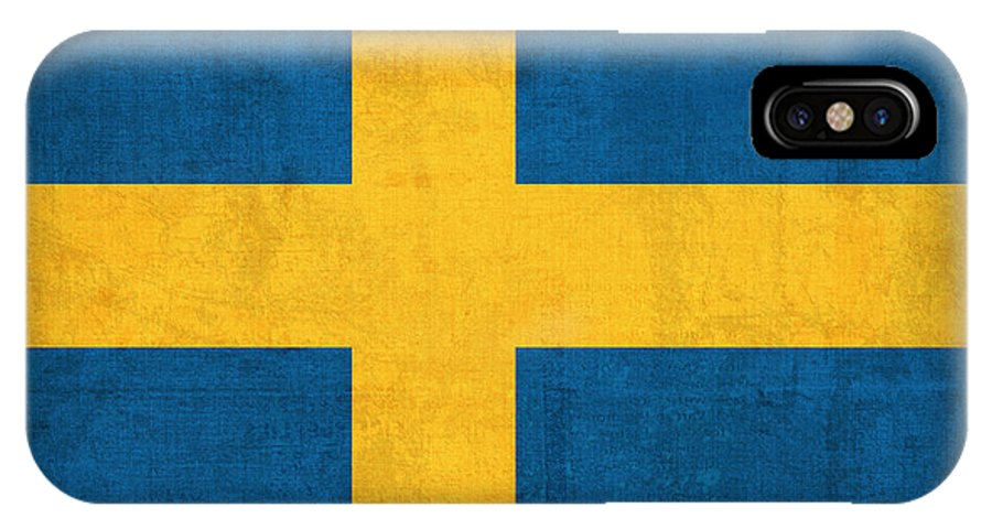 Sweden Flag Vintage Distressed Finish IPhone X Case featuring the mixed media Sweden Flag Vintage Distressed Finish by Design Turnpike