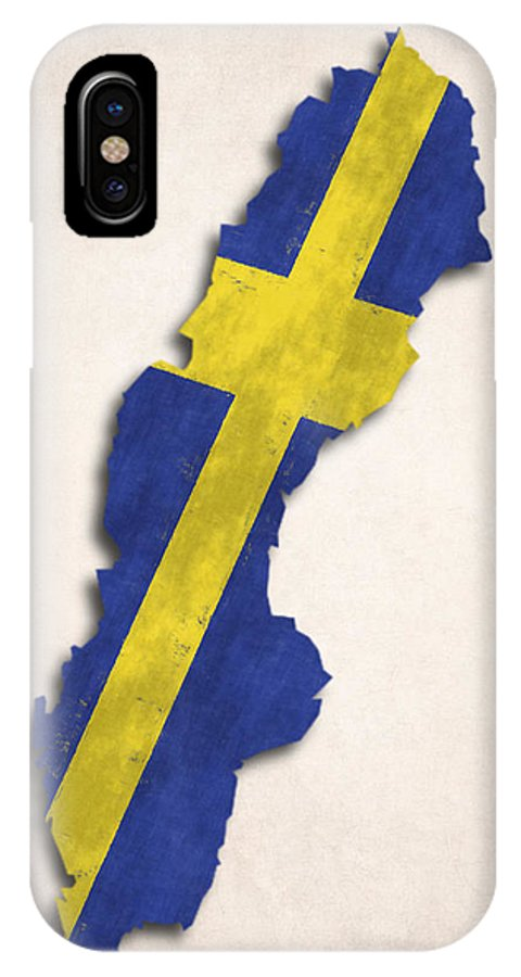 Blue IPhone X Case featuring the digital art Sweden Map Art With Flag Design by World Art Prints And Designs