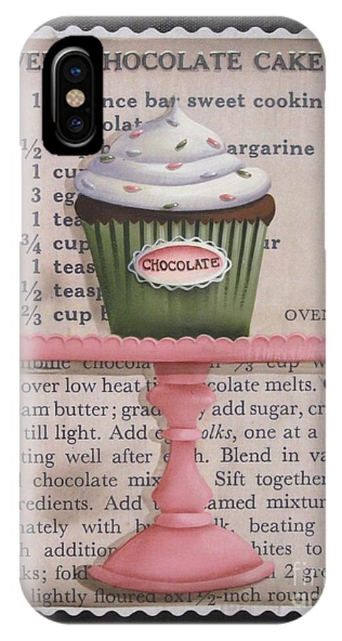 Art IPhone X Case featuring the painting Sweet Chocolate Cupcake by Catherine Holman
