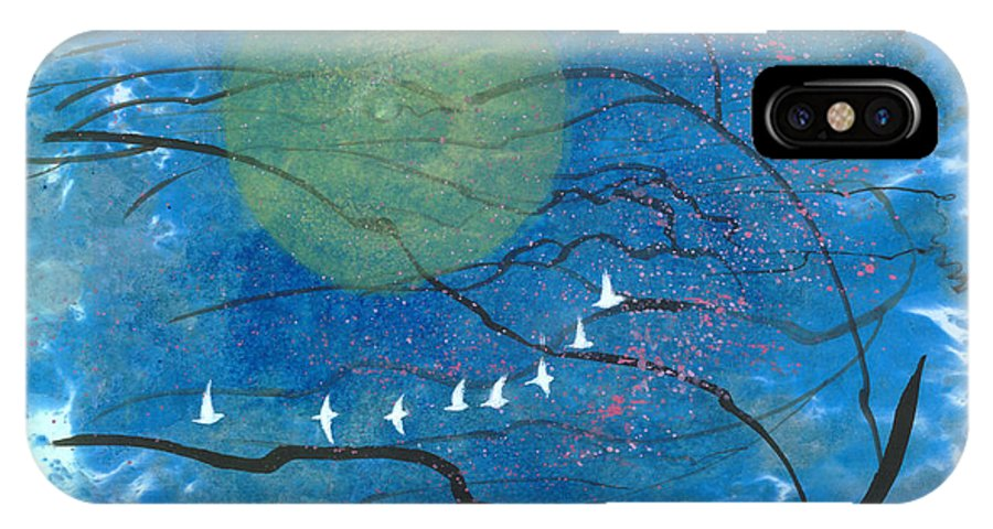 This Is A Contemporary Chinese Ink And Color On Rice Paper Painting With Simple Zen Style Brush Strokes. A Flock Of Birds Flying In The Moonlit Dreamy Night. IPhone X Case featuring the painting Sweet Dream II by Mui-Joo Wee