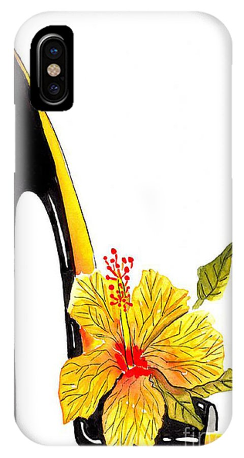 Elena Feliciano Art IPhone X / XS Case featuring the painting Sweetheart Hibiscus Stiletto by Elena Feliciano