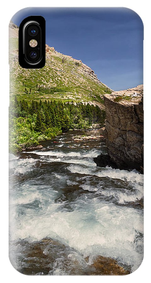Swiftcurrent River IPhone X Case featuring the photograph Swiftcurrent River At Many Glacier by Kathleen Bishop