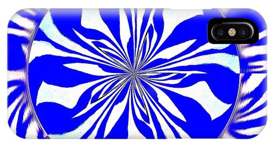 Zebra IPhone X Case featuring the painting Swirling Blue Zebra Kaleidoscope by Saundra Myles