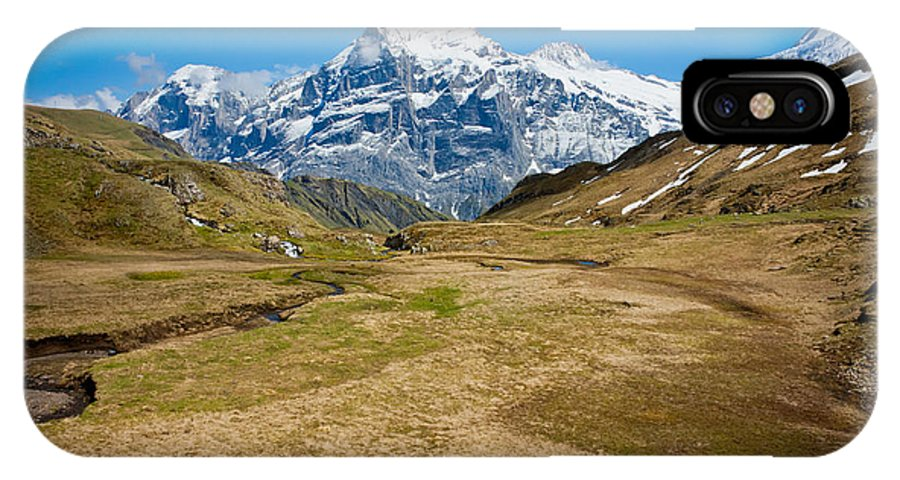 Alps IPhone X Case featuring the photograph Swiss Alps - Schreckhorn And Valley by Anthony Doudt