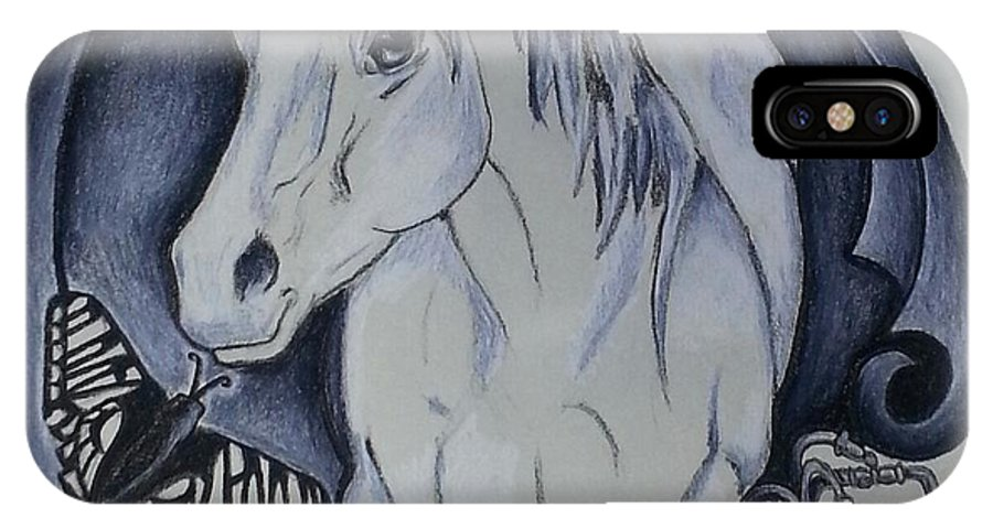Mariposa IPhone X Case featuring the drawing Sword And Horse by Melissa Sink