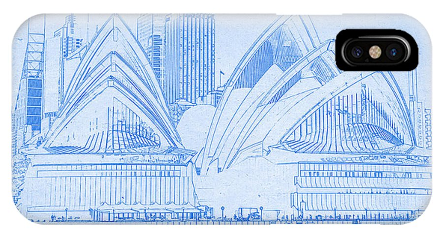 Sydney opera house blueprint drawing iphone x case for sale by sydney opera house blueprint drawing iphone x case featuring the digital art sydney opera house malvernweather Image collections