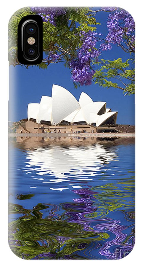 Sydney Opera House IPhone X Case featuring the photograph Sydney Opera House with jacaranda reflection by Sheila Smart Fine Art Photography