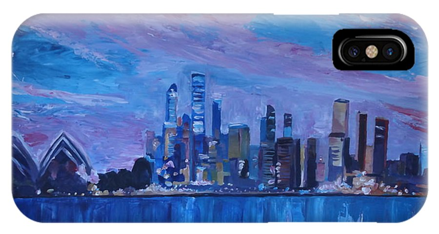 Sydney IPhone X Case featuring the painting Sydney Skyline With Opera House At Dusk by M Bleichner