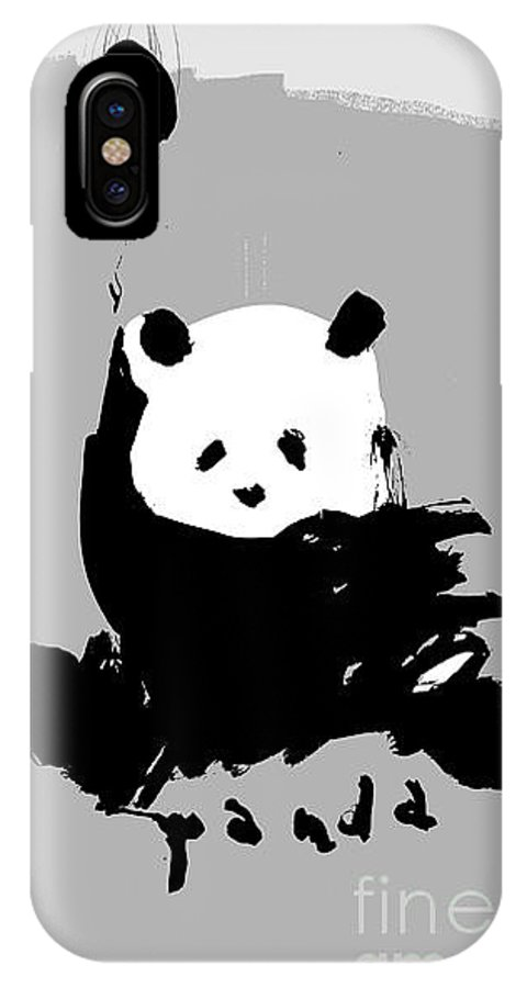 Small IPhone X Case featuring the digital art Symbolic Image Of A Panda On A Gray by Dmitriip