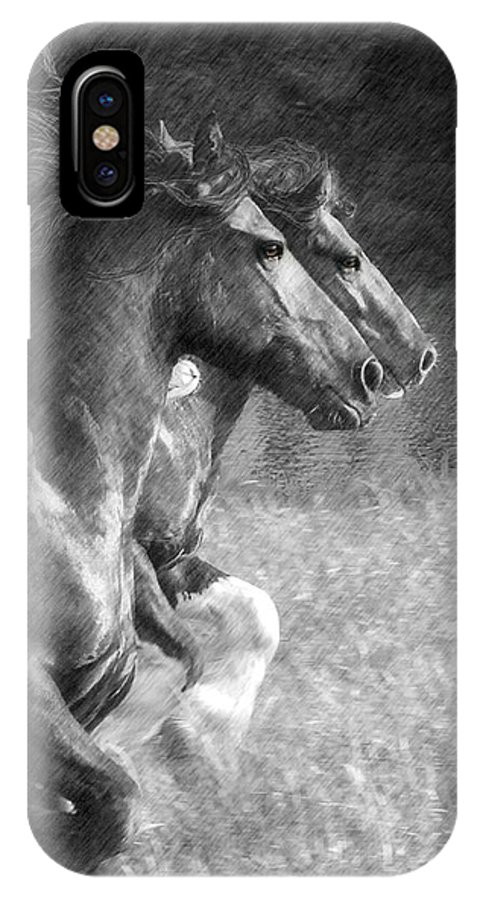 Horse IPhone X Case featuring the digital art Synchronicity by Fran J Scott