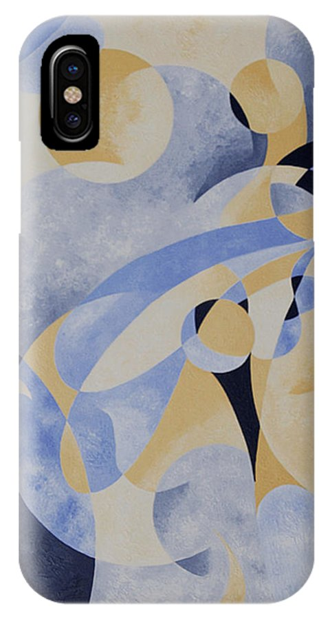 Jazz IPhone X Case featuring the painting Syncopation In Blue by Gillian Cronin