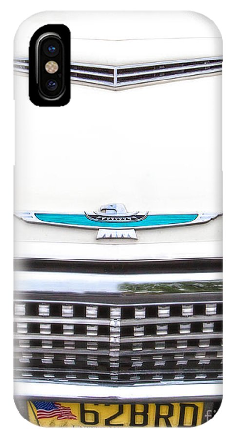 1962 IPhone X Case featuring the photograph T-bird Hood by Jerry Fornarotto