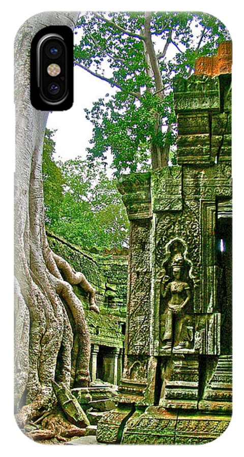 Ta Prohm And Tree Invasion In Angkor Wat Archeologial Park Near Siem Reap IPhone X / XS Case featuring the photograph Ta Prohm And Tree Invasion In Angkor Wat Archeologial Park Near Siem Reap-cambodia by Ruth Hager