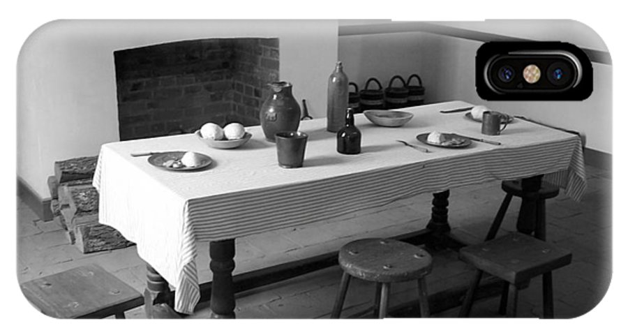 Table IPhone X Case featuring the photograph Colonial Table by Jeff Roney